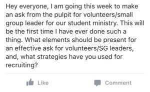 Youth Ministry Facebook Group Question
