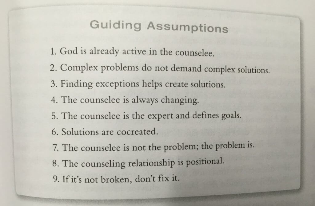 Guiding Assumptions of Solution-Focused Pastoral Counseling